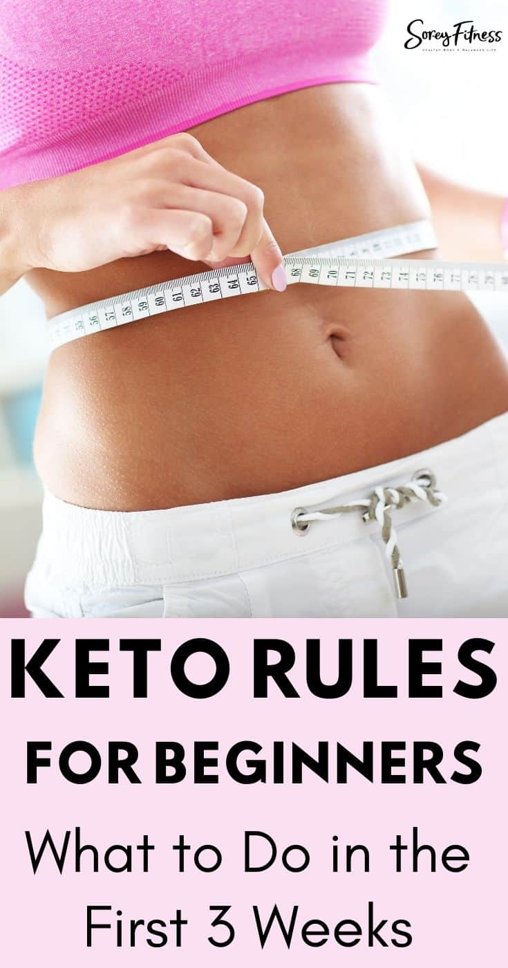 A woman's flat stomach with the words Keto Rules for Beginners