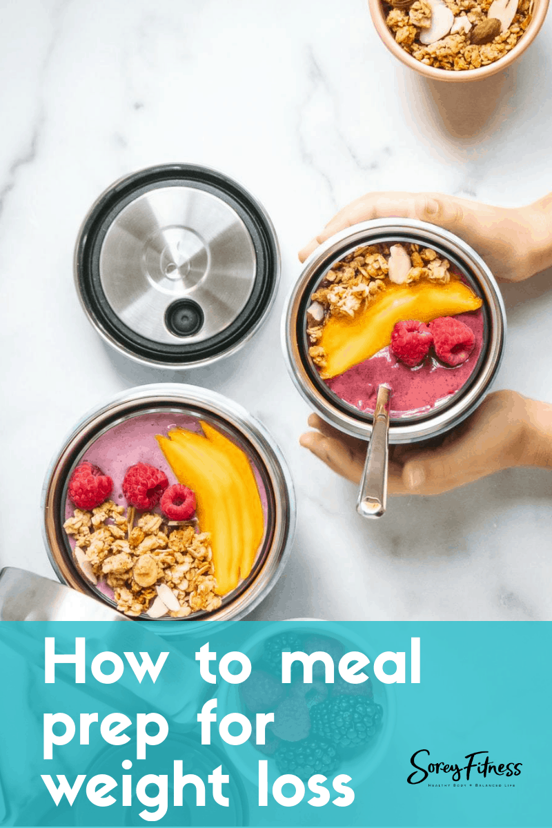meal prep containers with fruit and yogurt