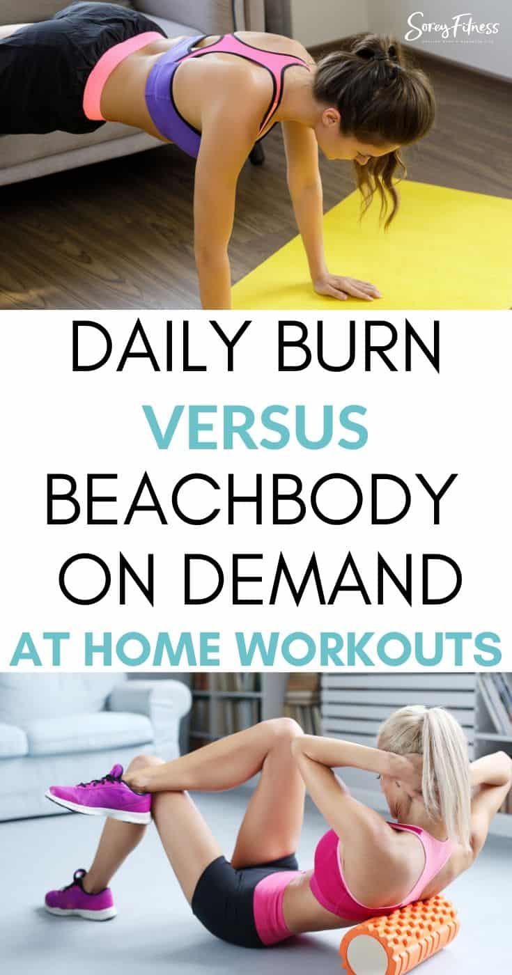 two women doing at home workouts with Daily Burn vs Beachbody on Demand