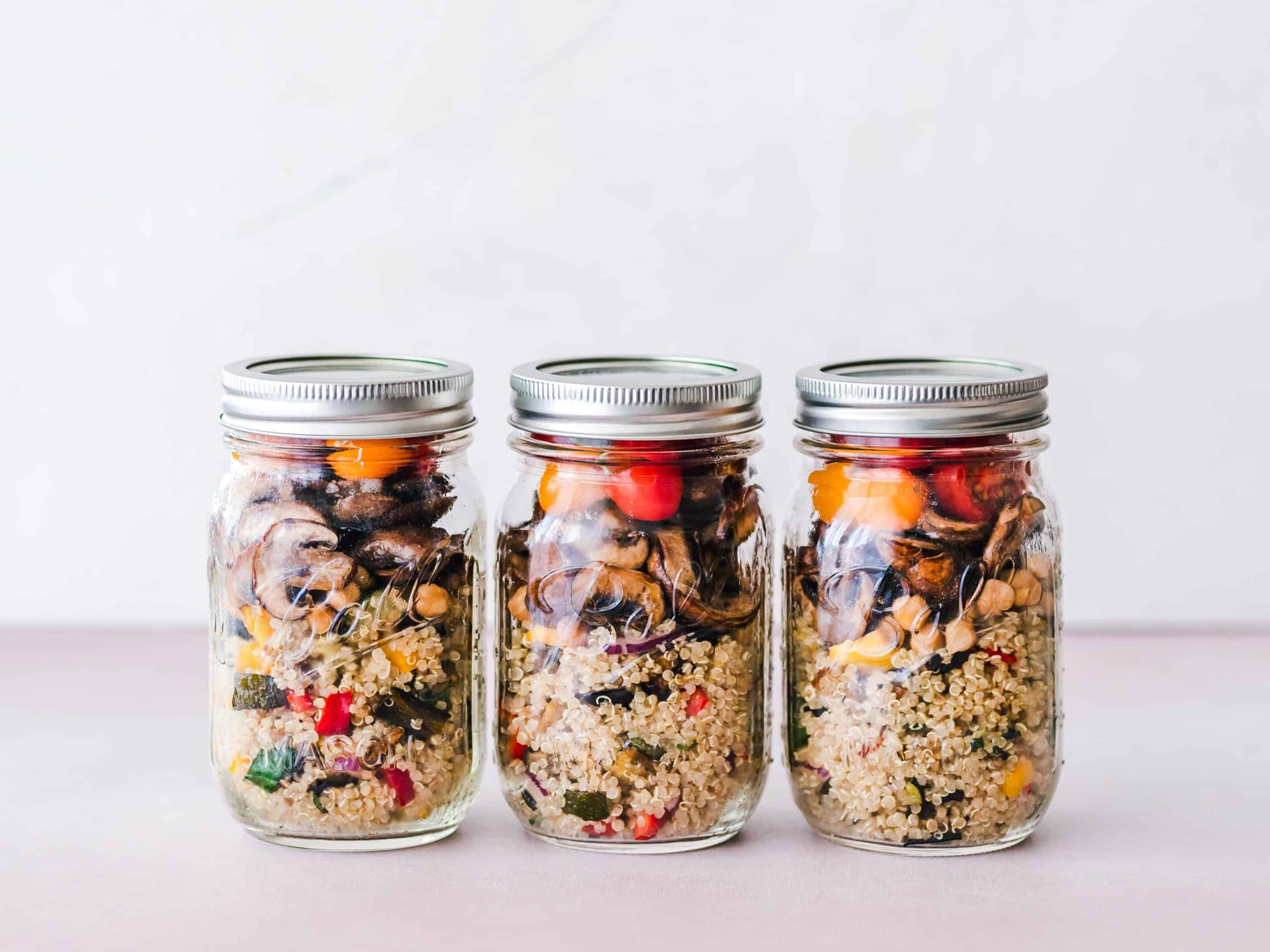 ball jars of meal prep salad