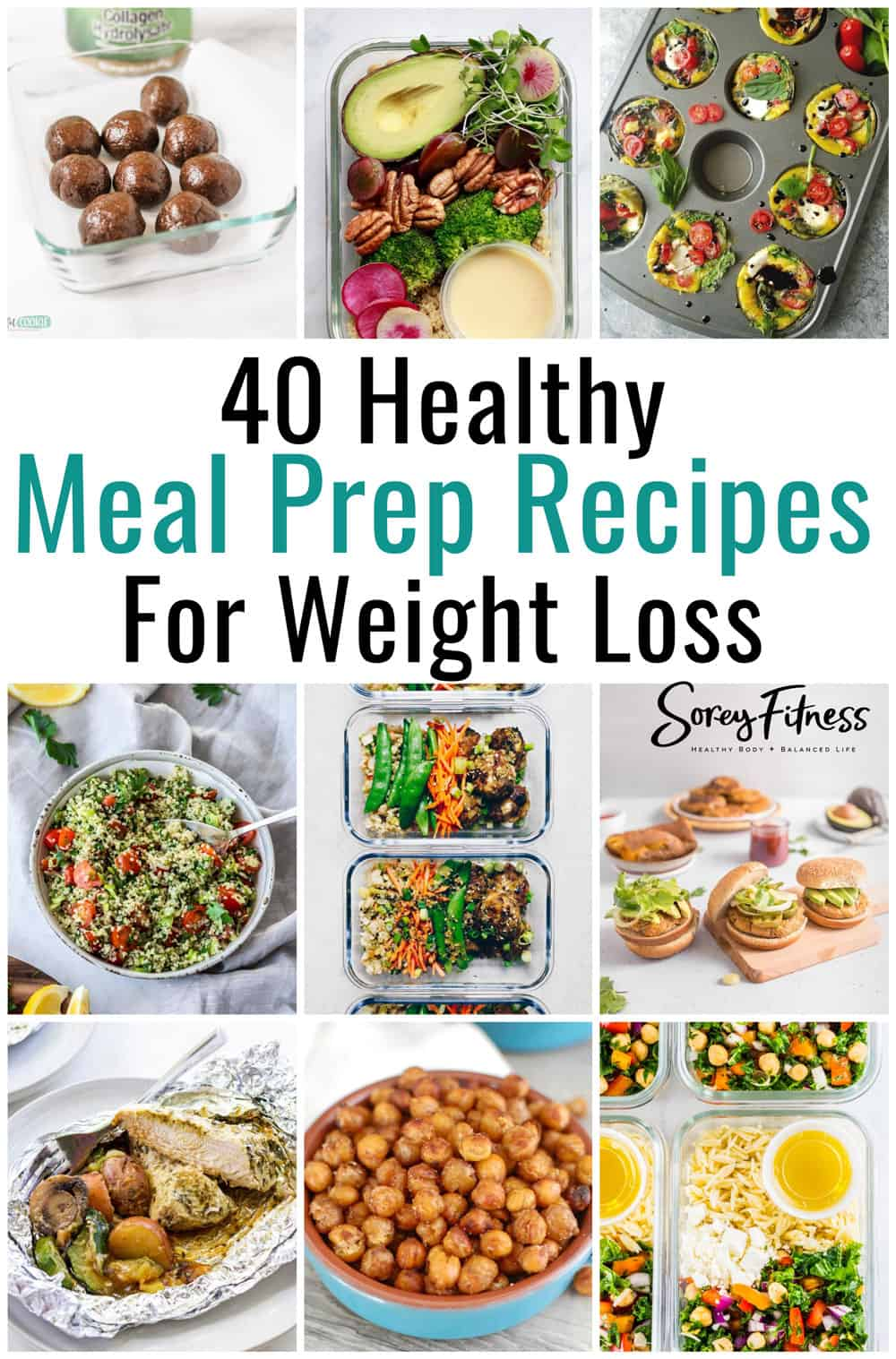 photo collage of meal prep recipes for weight loss