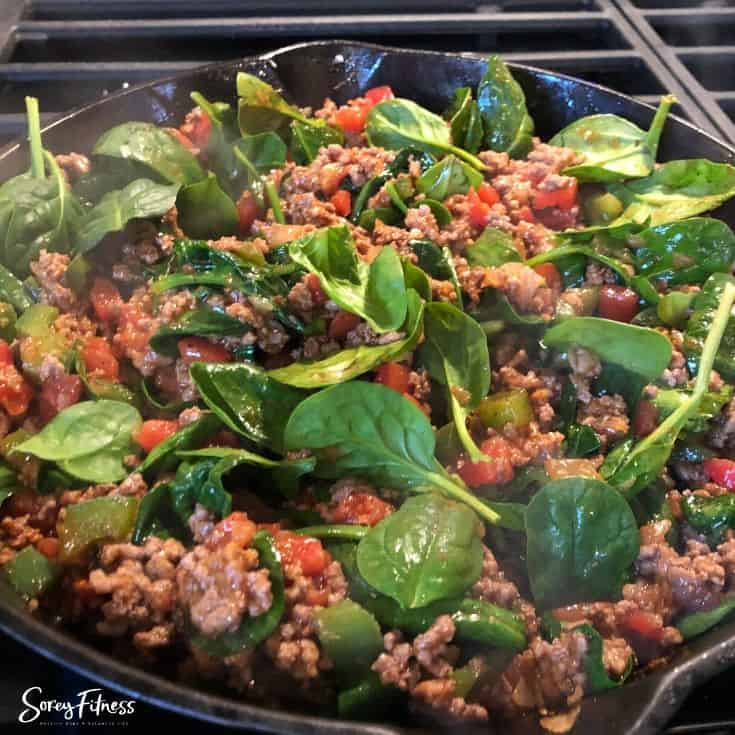 meat with tomatoes & spinach