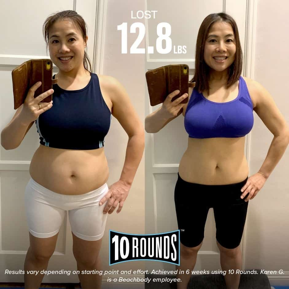 Woman's 10 Rounds Before and After pictures