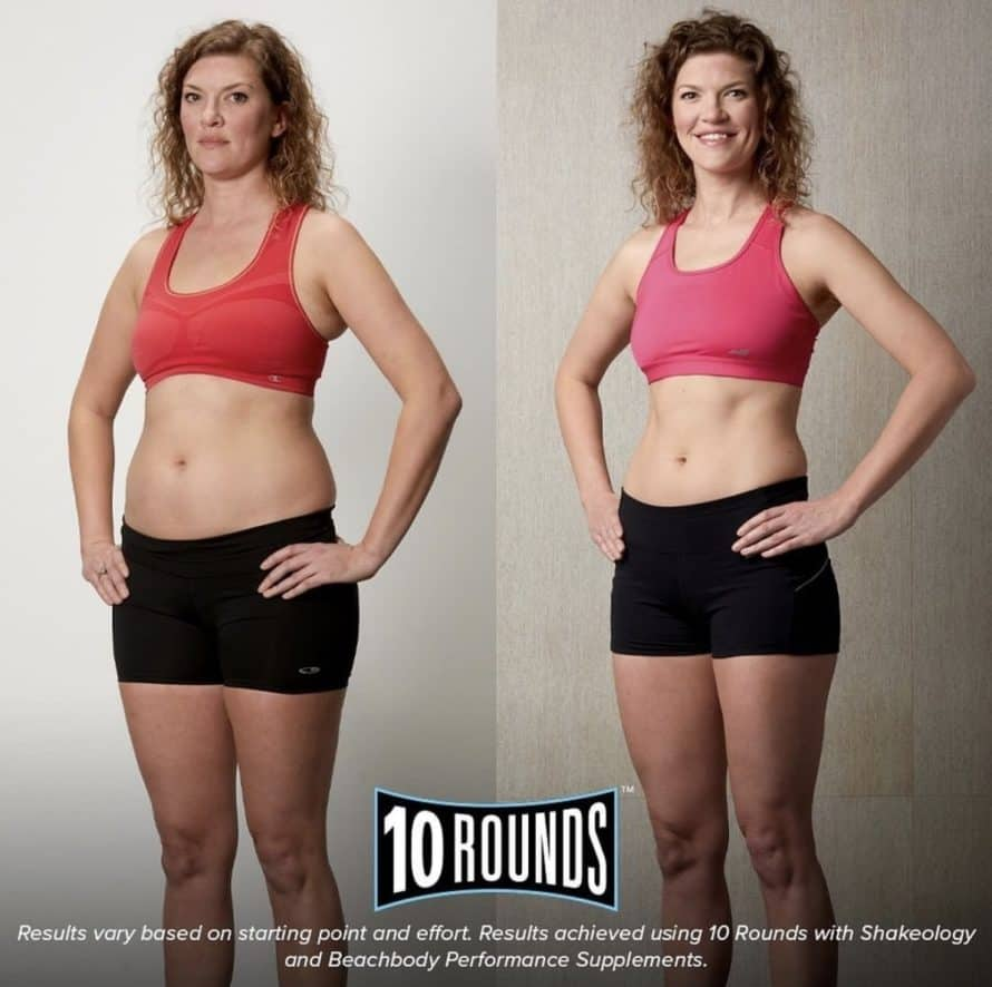 woman's 10 rounds before and after picture