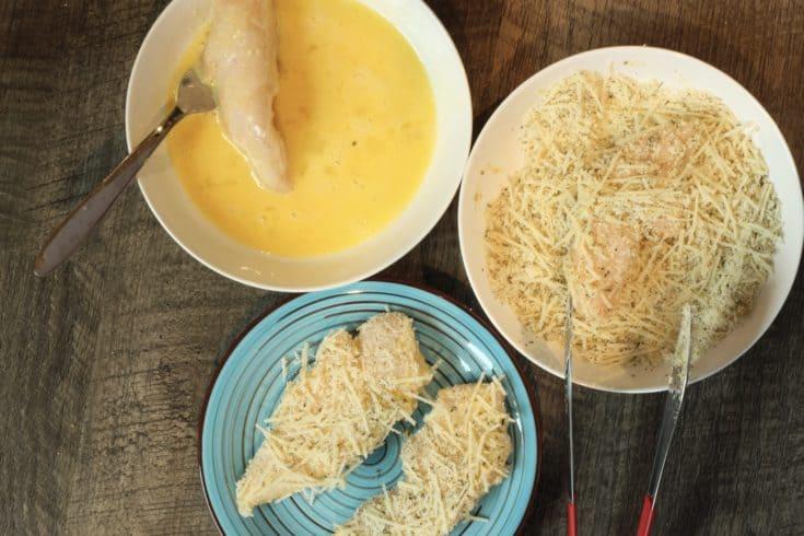Making Air Fryer Chicken Parmesan