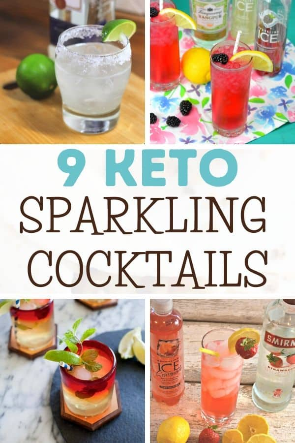 Collage of 4 Sparkling ICE Keto Cocktails