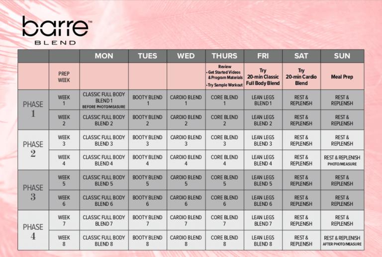 Barre Blend Workout Calendar