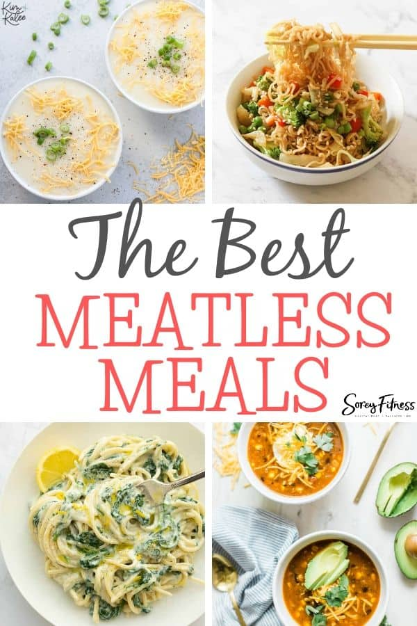 Collage of 4 Healthy Meatless Dinners