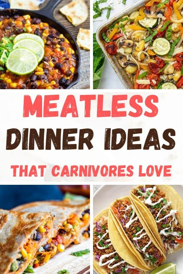 Collage of 4 Healthy Meatless Recipes