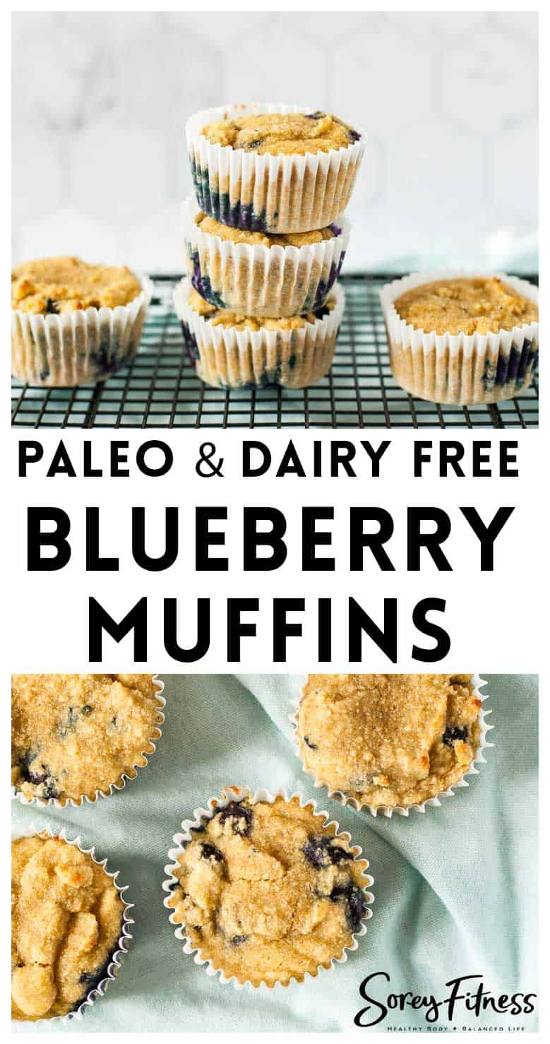 image collage of paleo blueberry muffins