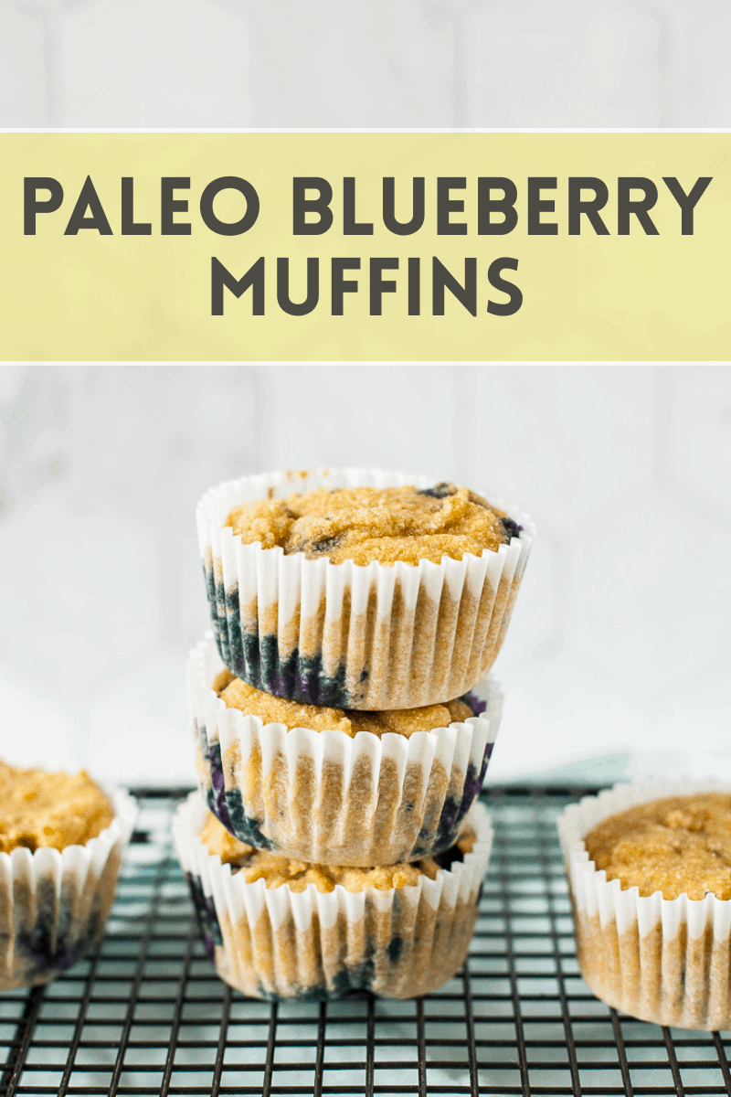 photo of stack of blueberry muffins with text overlay