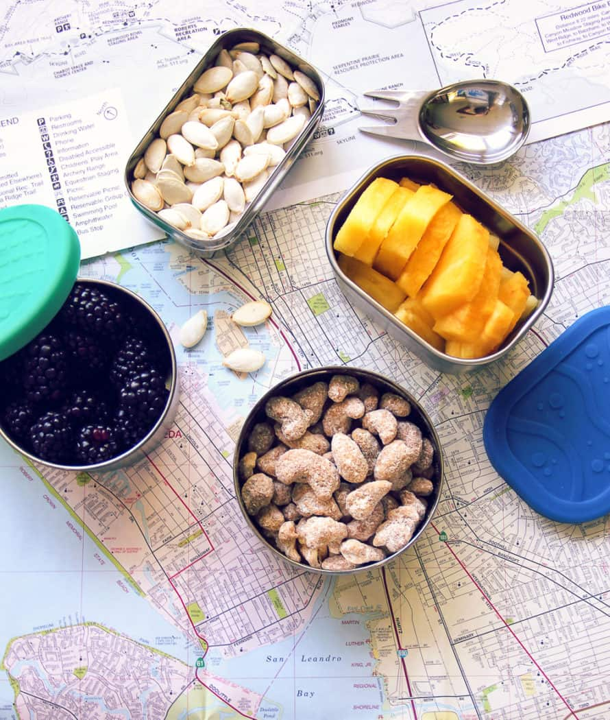 various snack items on a map