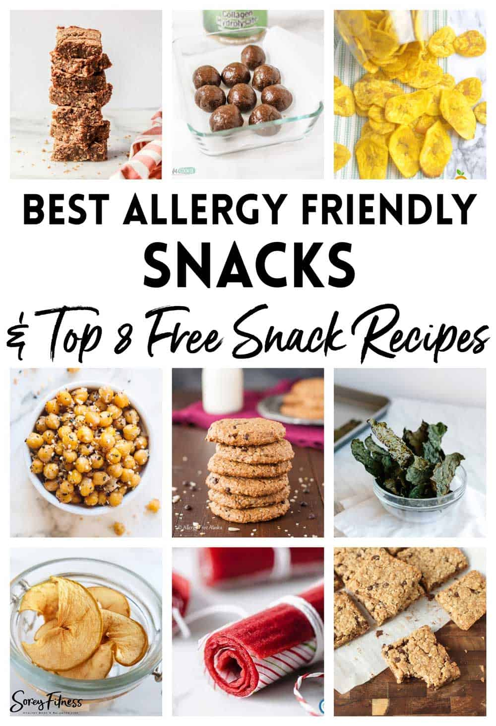 photo collage of allergy friendly snacks