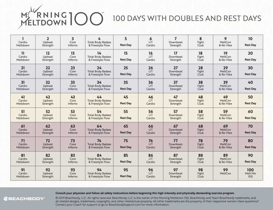 Morning Meltdown 100 Calendar (Printable)