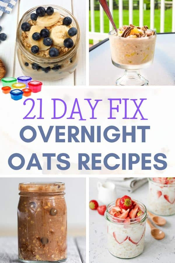 collage of 4 21 day fix overnight oat recipes