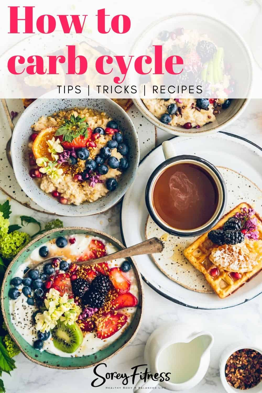 """overhead photo of breakfast table with text overlay saying """"how to carb cycle"""""""
