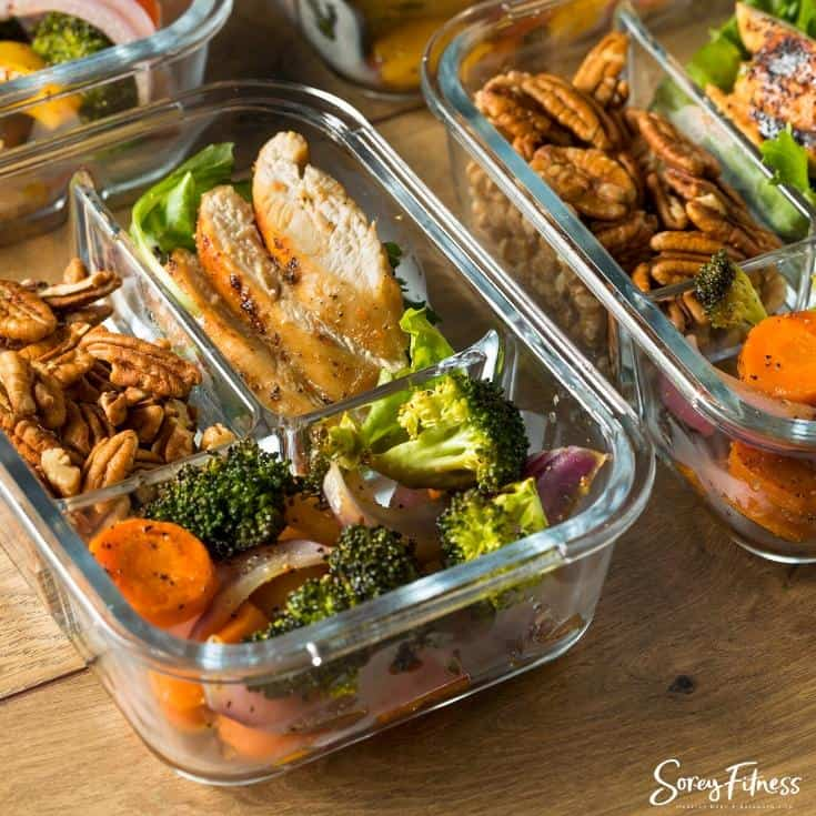 meal prepped chicken and vegetables in a container