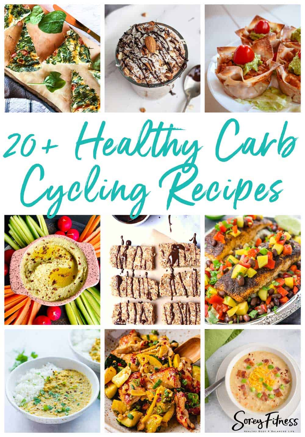photo collage of various recipes that are good for carb cycling