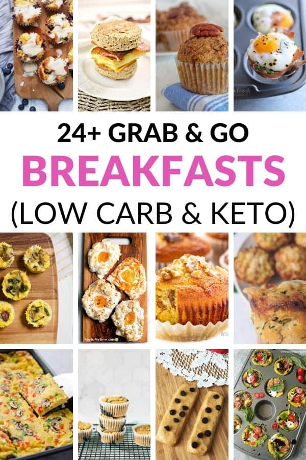 Collage of 12 different grab and go low carb breakfast ideas