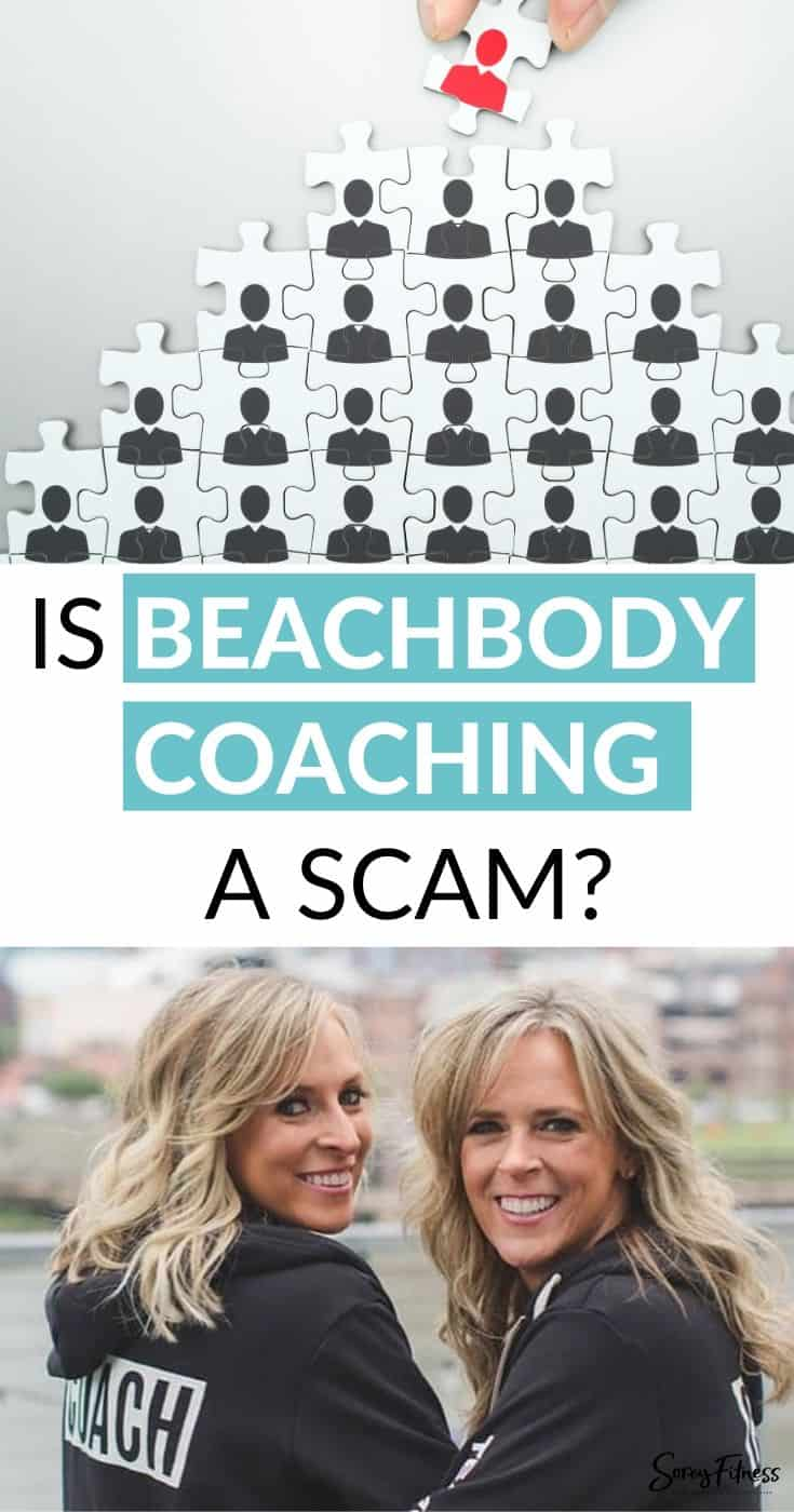 "Collage of a puzzle of people and kim and kalee with the text overlay, ""is beachbody coaching a scam?"""