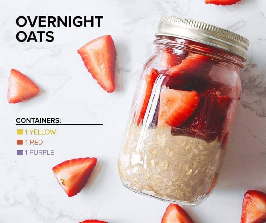 strawberries and oatmeal in a sealed mason jar