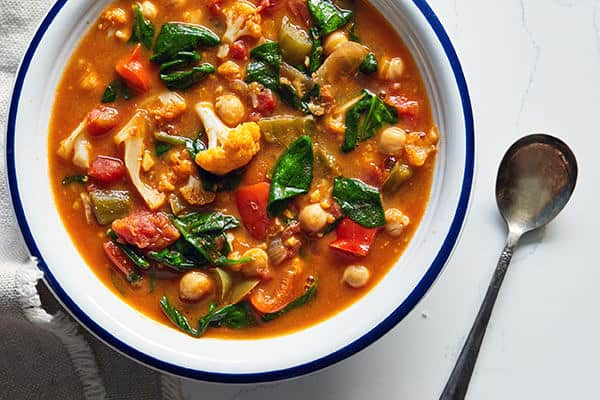 slow cooker vegan stew in a bowl