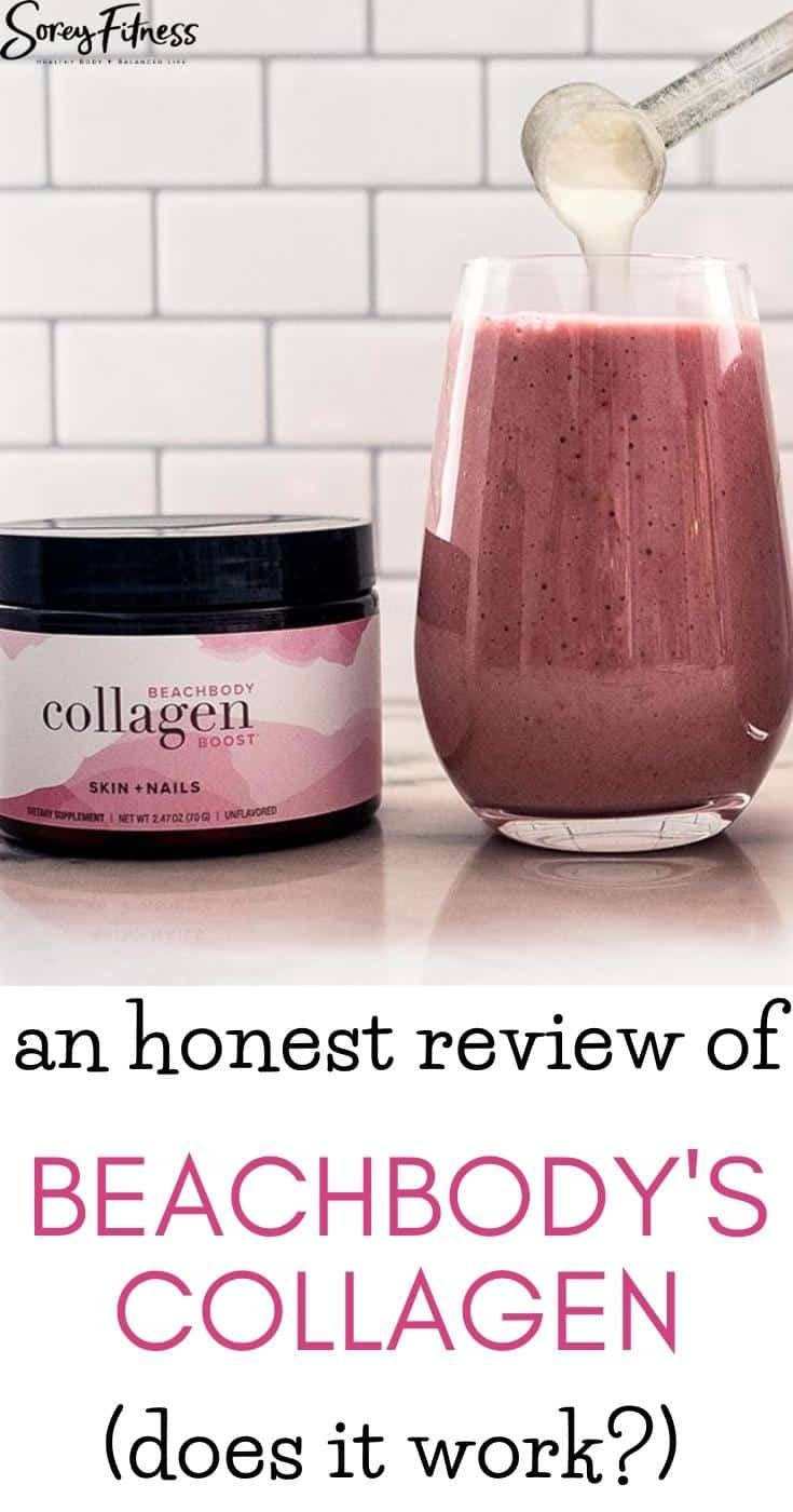 beachbody collagen container and a scoop of collagen going into a smoothie