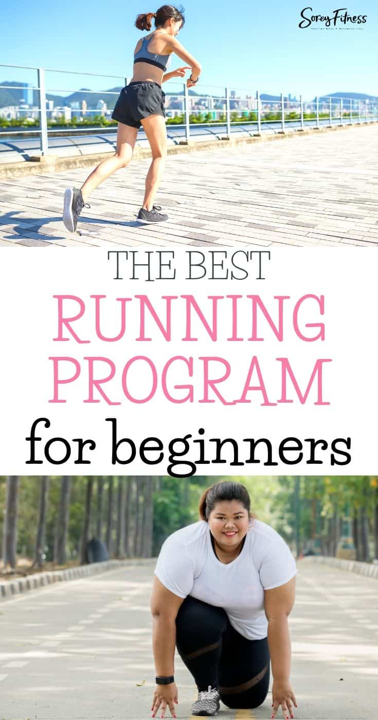 collage of 1 girl running with the text overlay The Best Running Program for Beginners