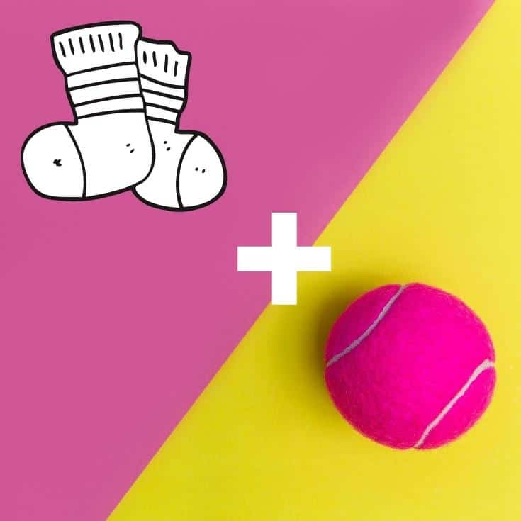 socks and a pink tennis ball