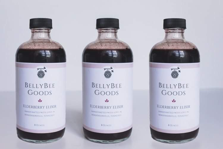 3 bottles of bellybeegoods organic elderberry elixir