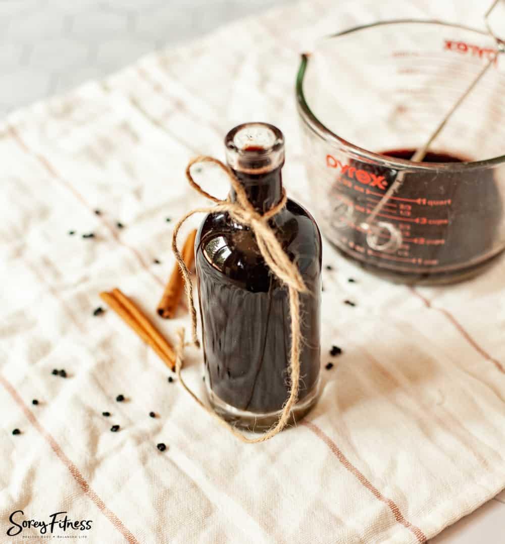 Bottle of homemade elderberry syrup