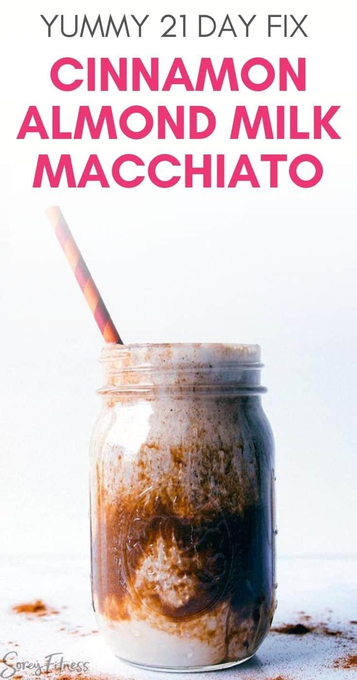 Iced Cinnamon Almond Milk Macchiato in a mason jar with a striped straw