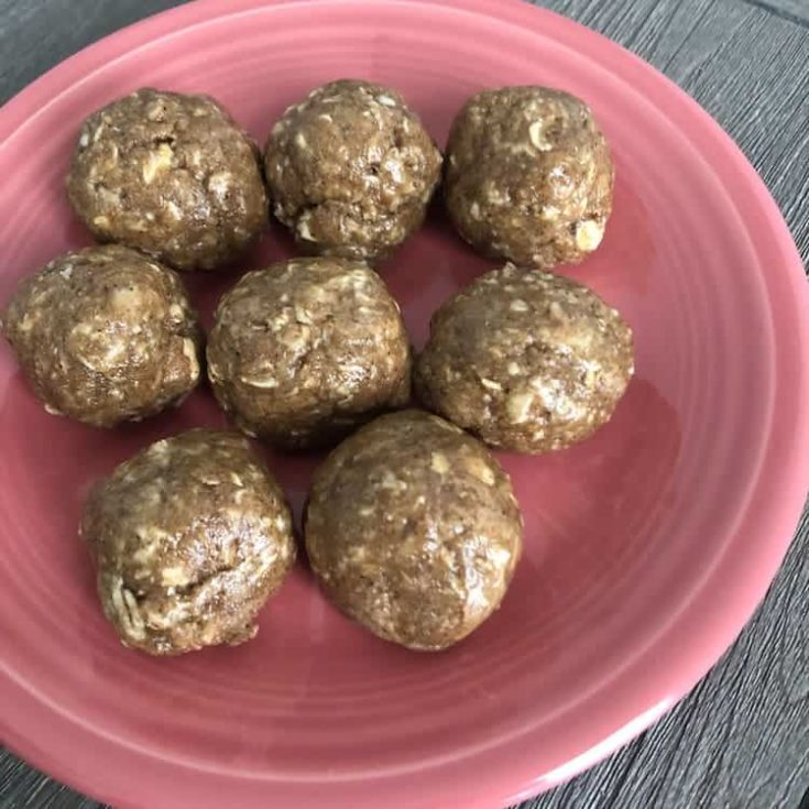 Shakeology Protein Balls on a pink plate