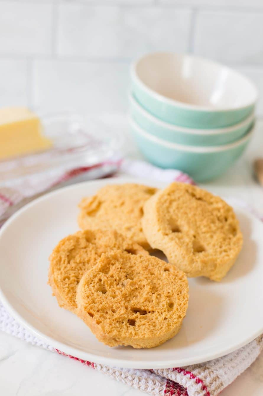 2 keto english muffins on a plate