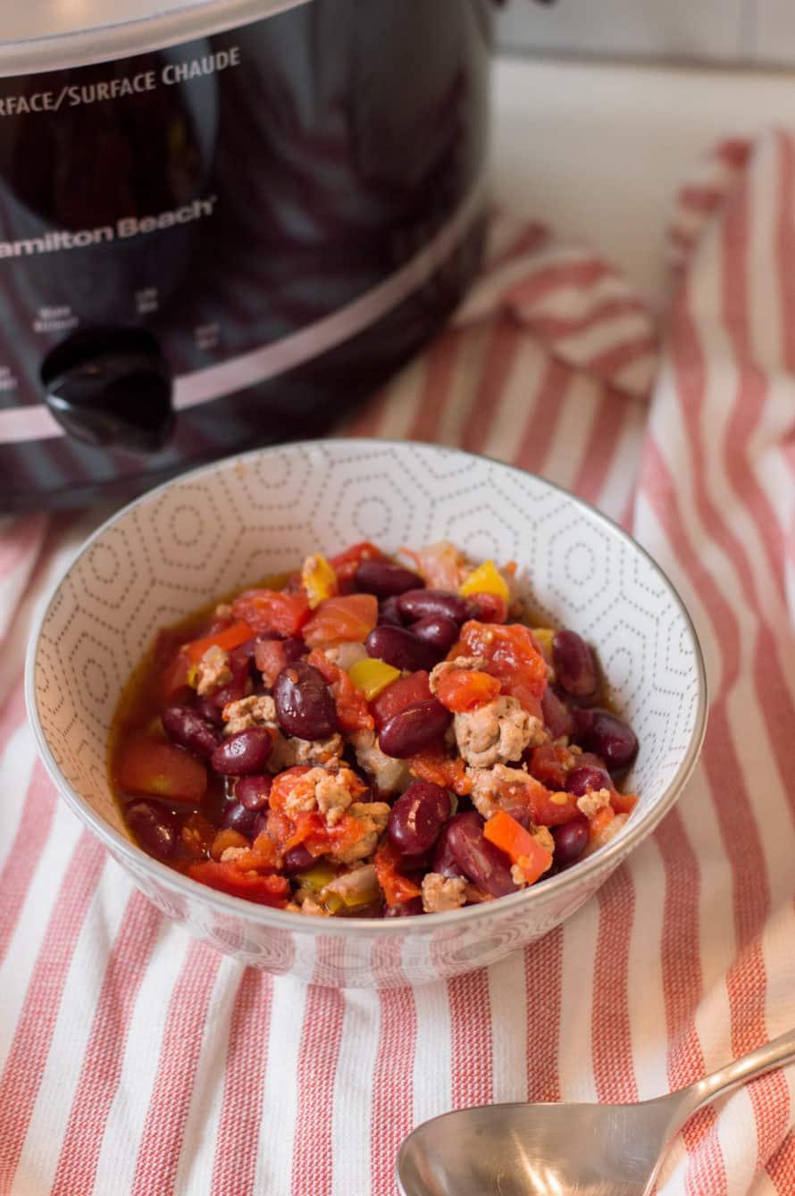 21 day fix turkey chili in a bowl