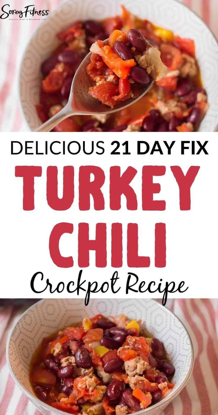 delicious 21 day fix turkey chili crockpot recipe collage of 2 photos