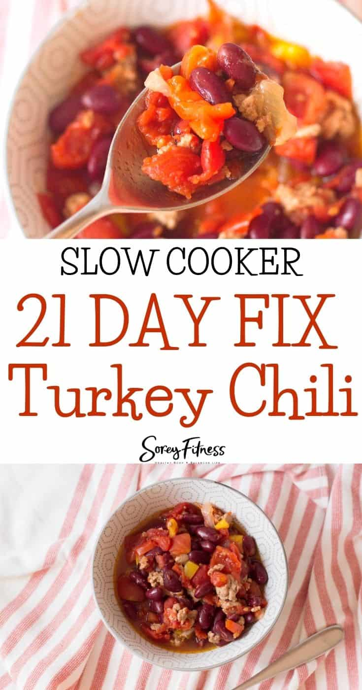 slow cooker 21 day fix turkey chili collage