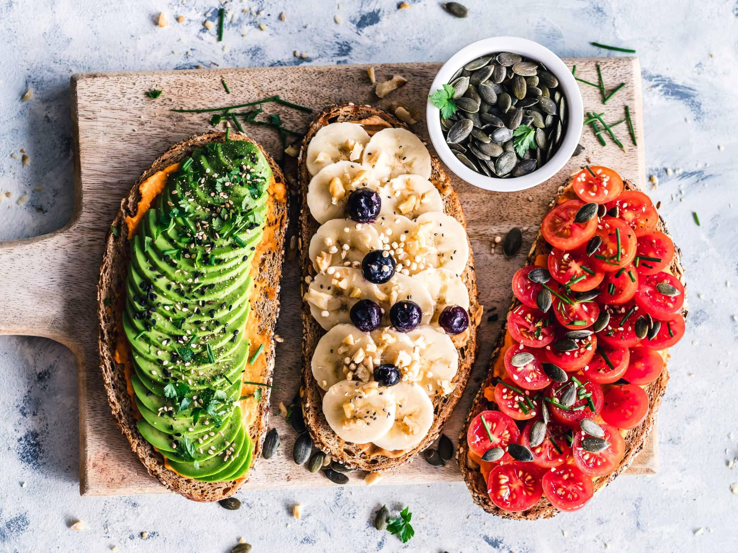 vegan toasts on cutting board