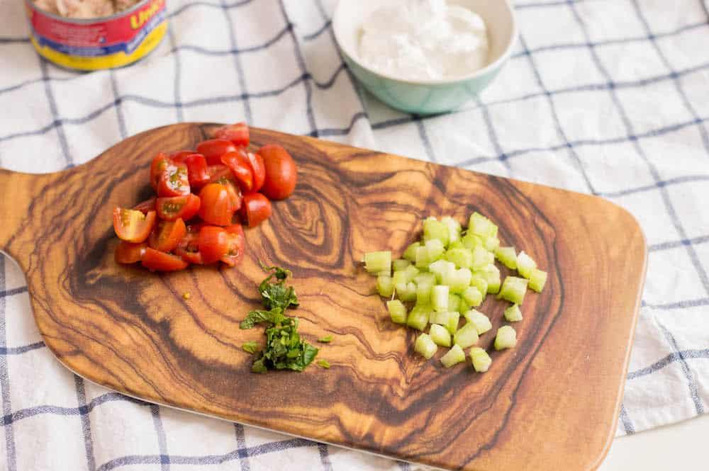 ingredients for healthy tuna salad