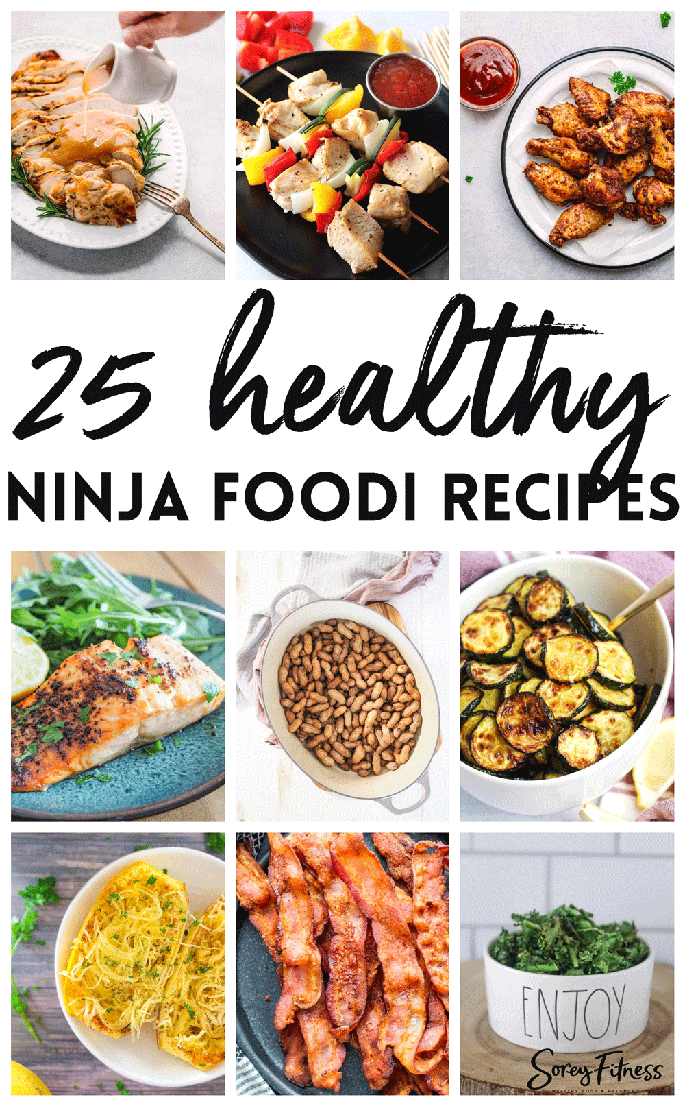 photo collage of healthy recipes made in a Ninja Foodi