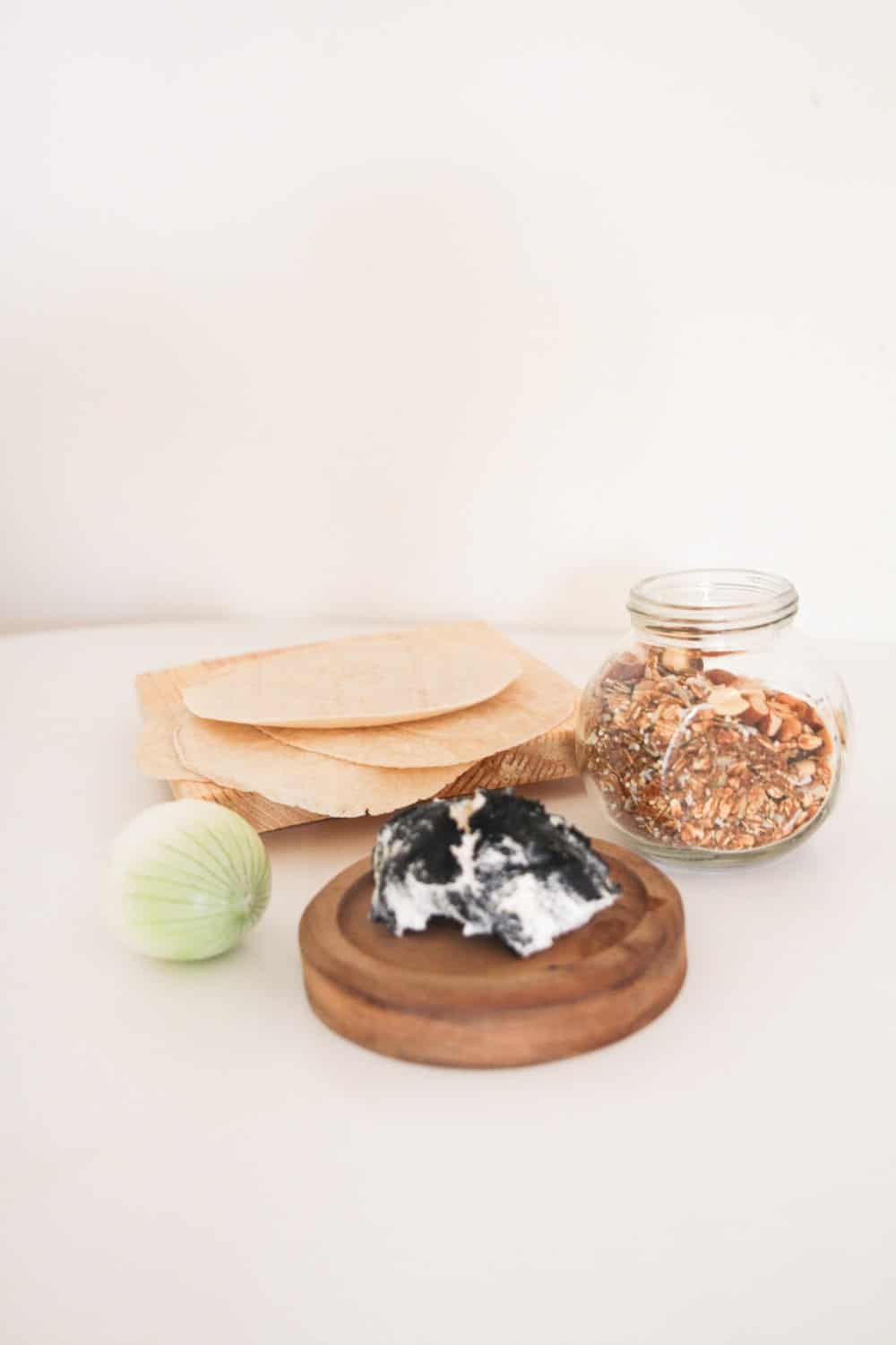 Ingredients for Goat Cheese Wraps -Onion, tortilla, goat cheese, and optional - granola