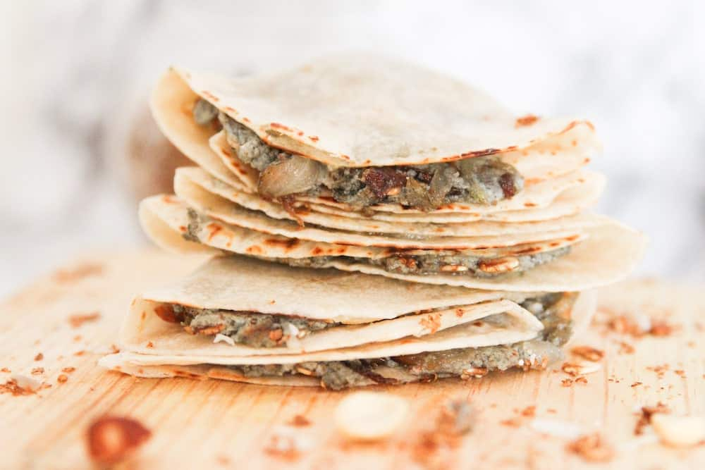 4 Easy low carb wraps stacked on top of each other