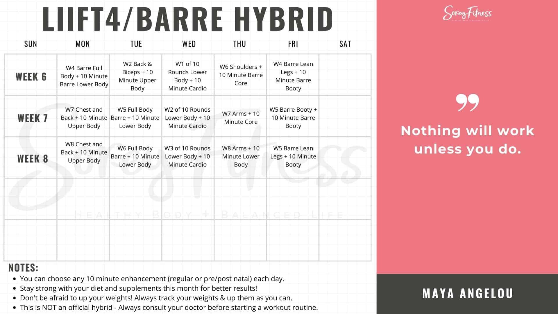 Liift4 Barre Blend Calendar Weeks 6-8