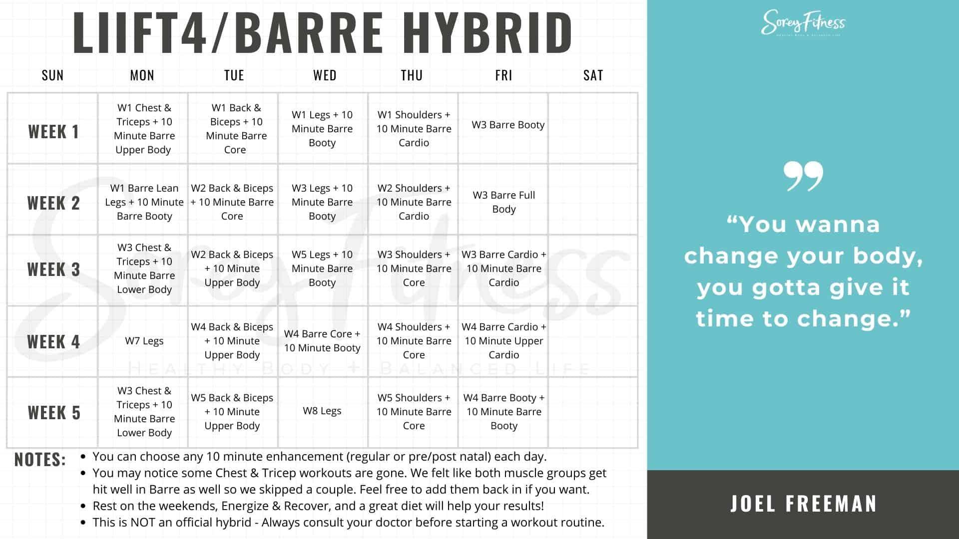 Liift4 Barre Blend Calendar Weeks 1-5