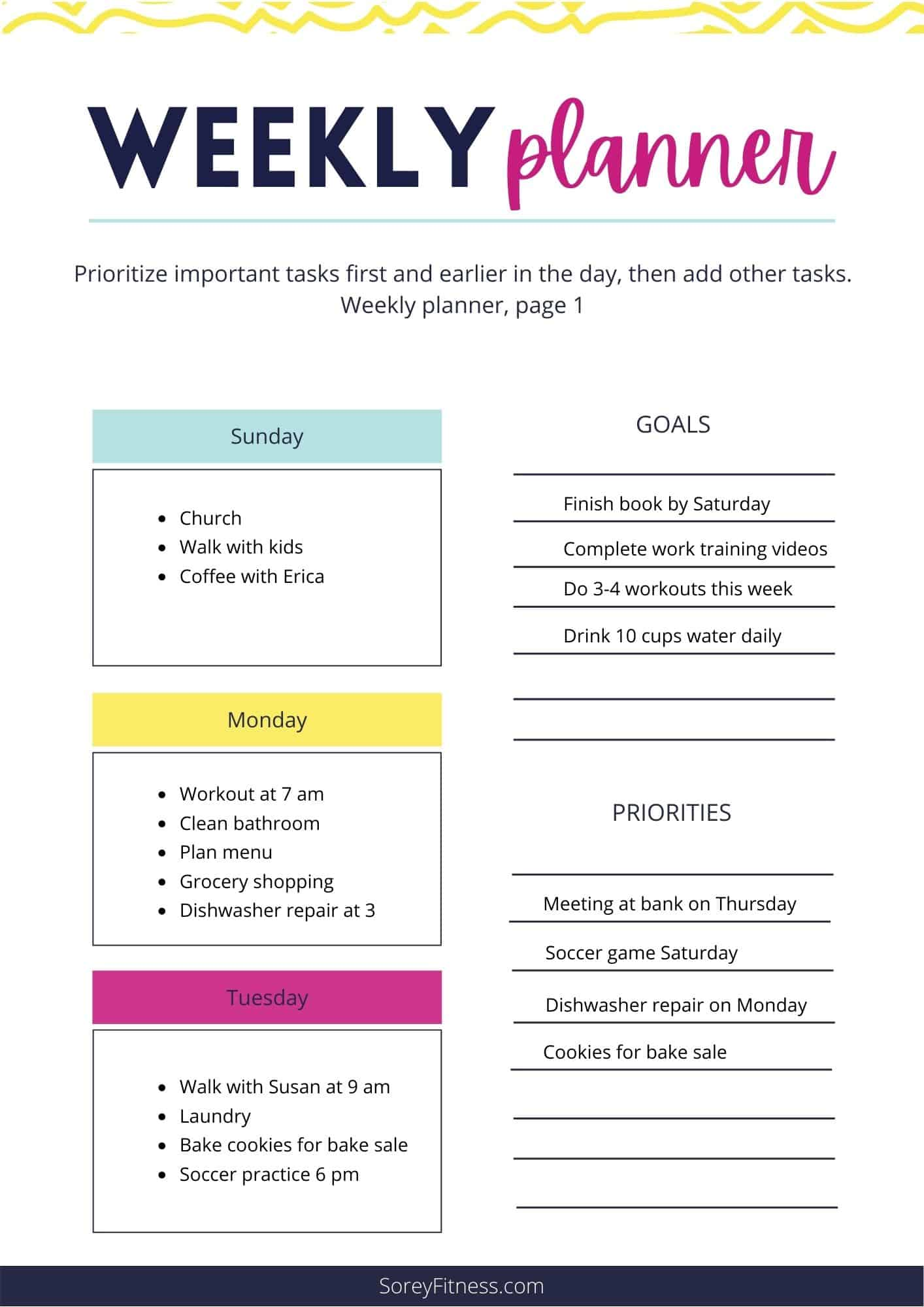 sample weekly routine on a weekly planner page