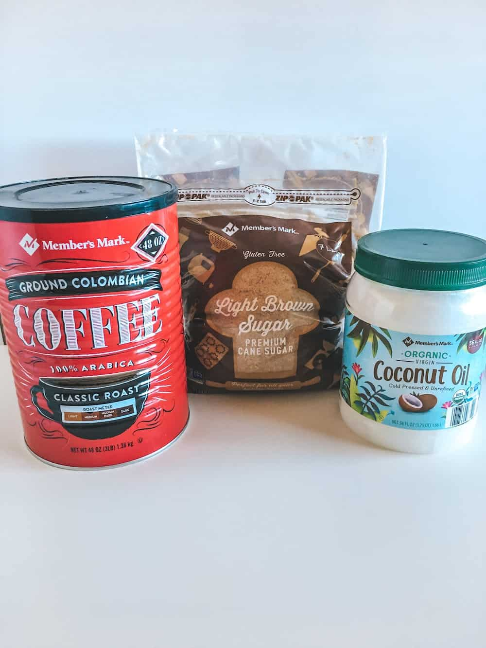 ingredients for coffee sugar scrub