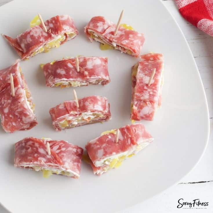 Keto Salami Roll Ups with Cream Cheese & Peppers