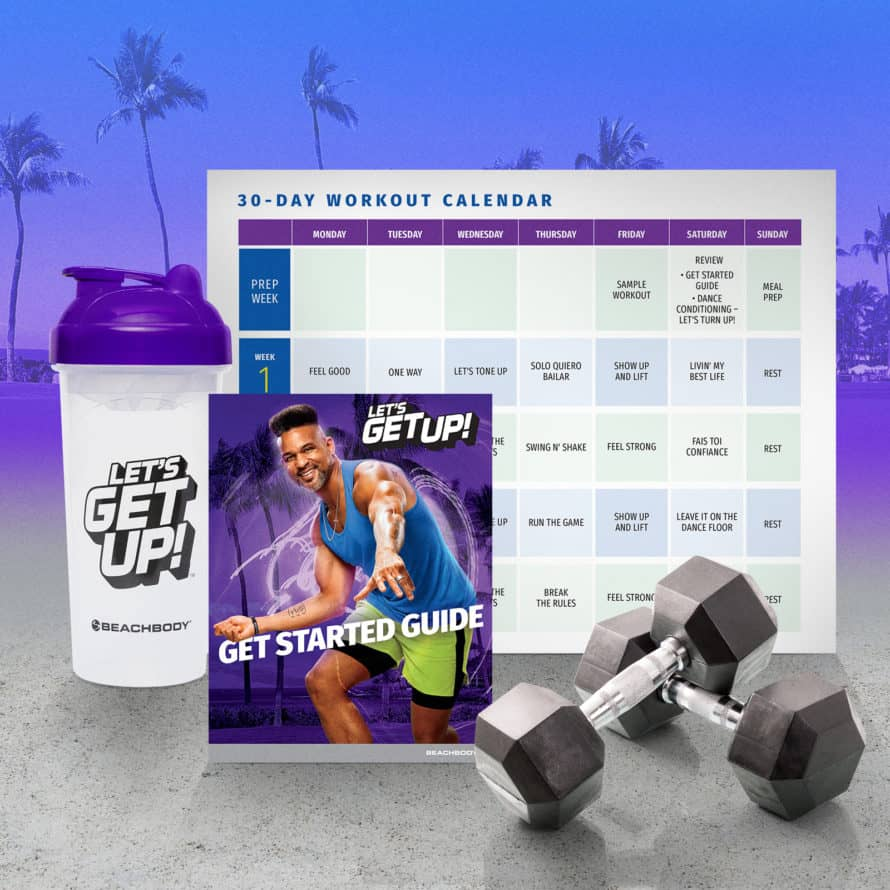 lets get up workout calendar and equipment