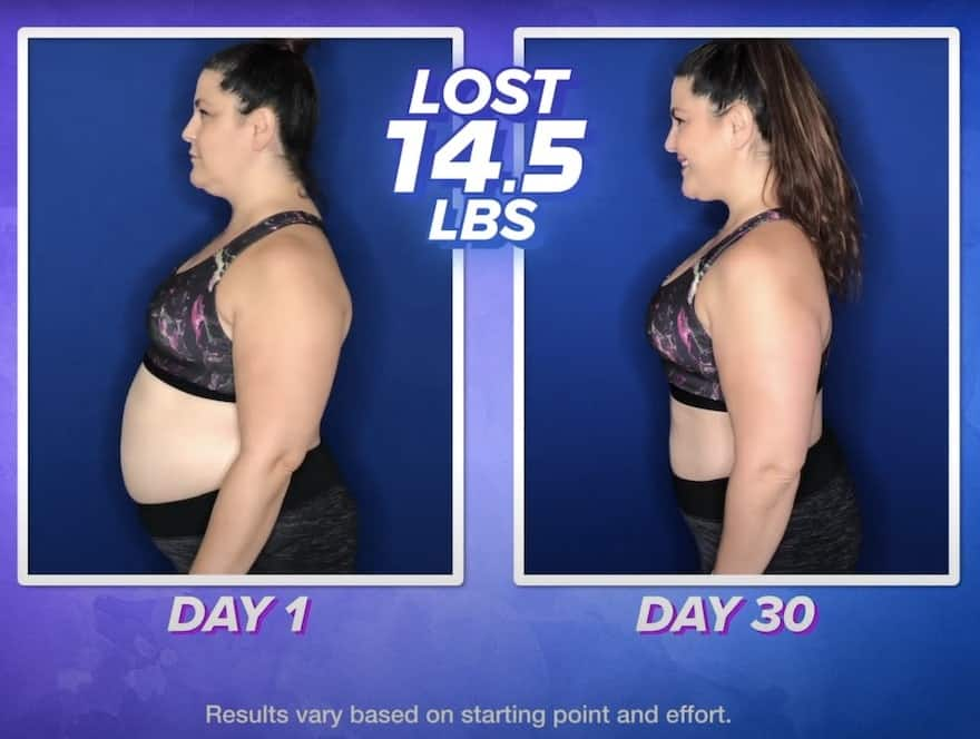 lets get up workout female before and after picture (lost 14.5lbs in 30 days) Results may vary