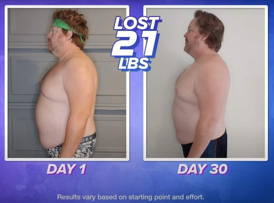 lets get up workout male before and after picture (lost 21 lbs in 30 days) Results may vary